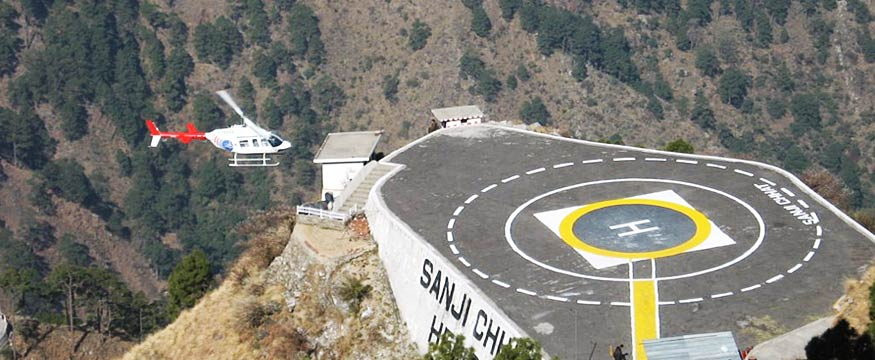 Helicopter landing at Sanjichhat Helipad